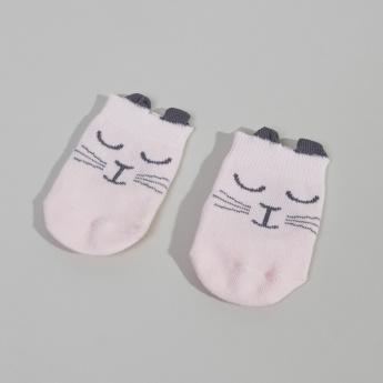 Juniors Cat Printed Socks with Applique Detail