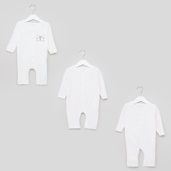 Juniors Printed Long Sleeves Open Feet Sleepsuit - Set of 3