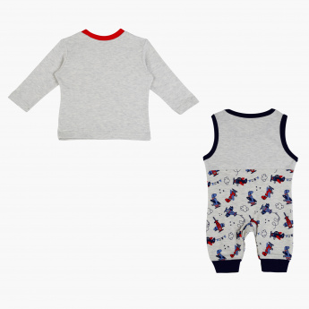 Juniors Printed Dungaree and T-Shirt Set
