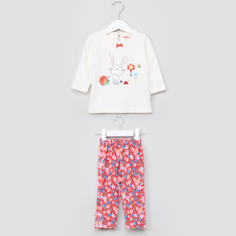 Juniors Printed Long Sleevs T-Shirt and Pyjama Set