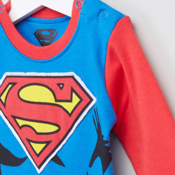 Superman Printed Long Sleeves Sleepsuit