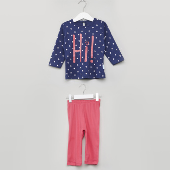 Juniors Printed Long Sleeves Top and Pyjama Set