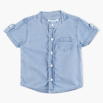 Junior Mandarin Collar Short Sleeves Shirt