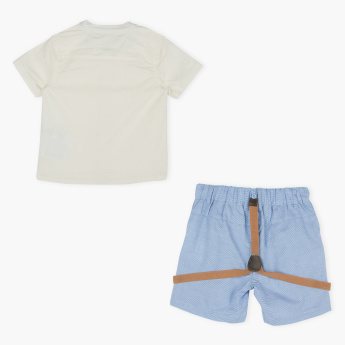 Juniors Mandarin Collar Shirt with Shorts and Suspenders