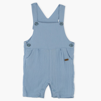 Giggles Pleated Dungarees with Button Closure and Pocket Detail