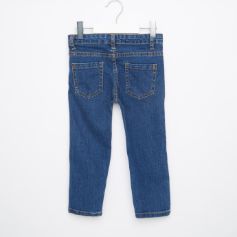 Juniors Full Length Jeans with Button Closure and Pockets
