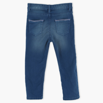 Juniors Full Length Jeans with Button Closure and Pocket Detail