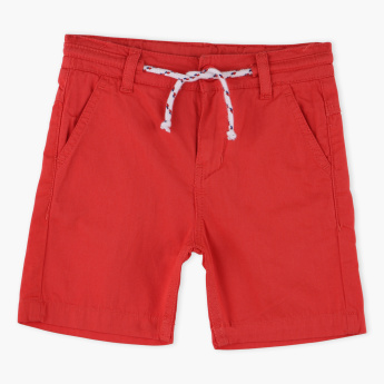 Juniors Pocket Detail Shorts with Button Closure and Drawstring