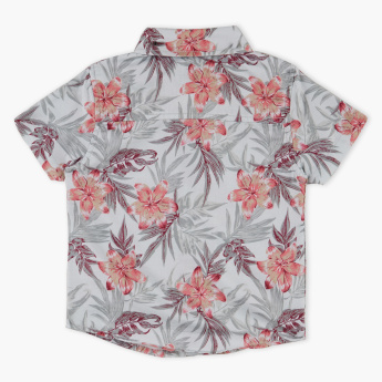 Juniors Floral Printed Shirt with Bow Tie