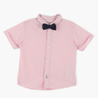 Juniors Short Sleeves Shirt with Bow Detail