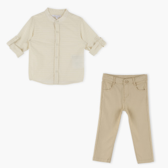Juniors Striped Shirt with Full Length Pants