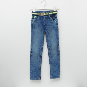 Juniors Full Length Jeans with Pocket Detail and Belt