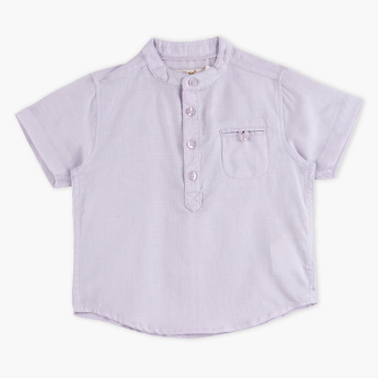 Mandarin Collar Short Sleeves Shirt