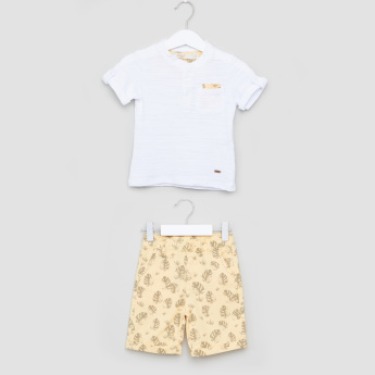 Eligo Printed Short Rolled-Up Sleeves T-Shirt with Shorts