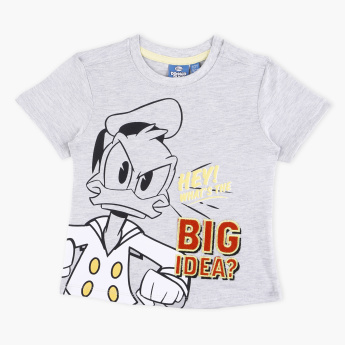 1298a200 Donald Duck Printed Round Neck T-Shirt | Grey | T-Shirts