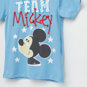 Mickey Mouse Printed T-Shirt with Short Sleeves