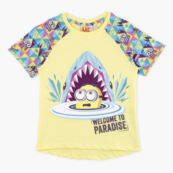 Minions Printed Crew Neck Raglan Sleeves T-Shirt