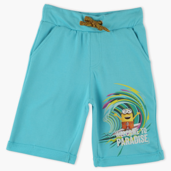 Minion Printed Shorts with Elasticised Waistband