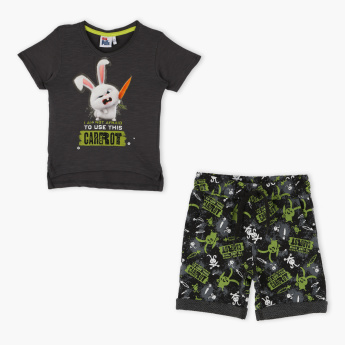 The Secret Life of Pets Printed T-Shirt with Shorts