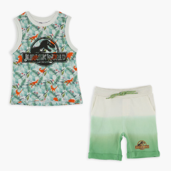 Jurassic World Printed Sleeveless T-Shirt with Shorts