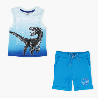Jurassic Park Printed Sleevless T-Shirt with Shorts