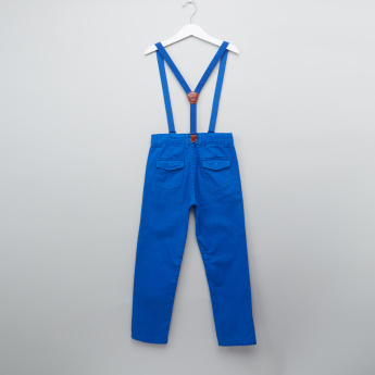 Juniors Full Length Pants with Button Closure and Suspenders