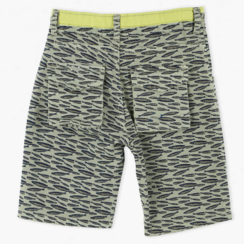 Juniors Printed Shorts with Button Closure and Drawstring