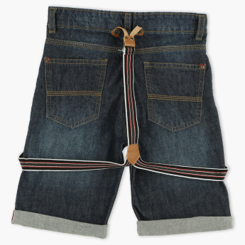 Juniors Denim Shorts with Button Closure and Suspenders