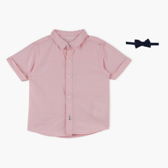 Juniors Short Sleeves Shirt with Bow Tie