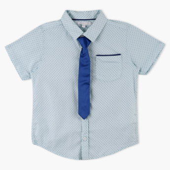 Juniors Printed Shirt with Tie