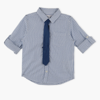 Juniors Chequered Shirt with Tie