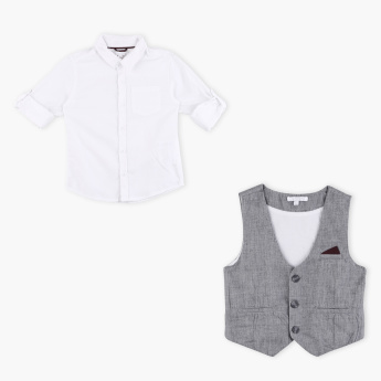 Juniors Long Sleeves Shirt with Waistcoat