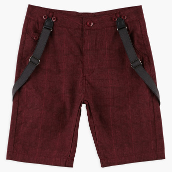 Juniors Textured Shorts with Button Closure and Suspenders