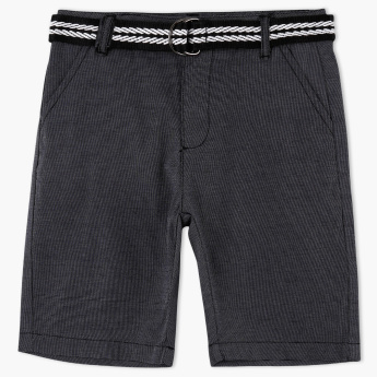 Juniors Textured Shorts with Belt
