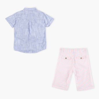 Juniors Short Sleeves Shirt with Stripped Shorts