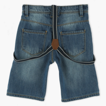 Juniors Denim Shorts with Braces and Pocket Detail