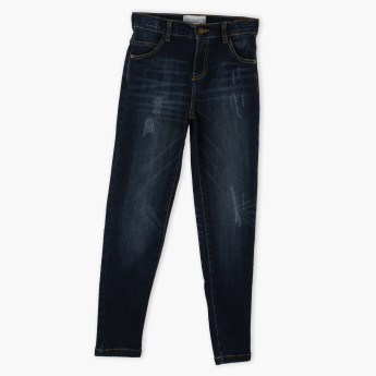 Posh Full Length Jeans with Pocket Detail and Button Closure
