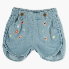 Juniors Embroidered Denim Shorts with Elasticised Waistband