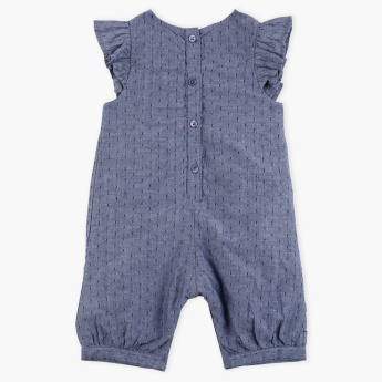 Juniors Embroidered Round Neck Romper