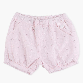 Giggles Schiffli Bow Detail Shorts with Elasticised Waistband