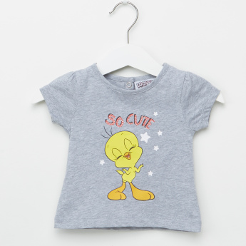 Tweety Printed Round Neck T-Shirt - Set of 2
