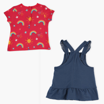 Juniors Printed T-Shirt with Dungaree Dress