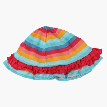 Juniors Striped Hat with Frill Detail