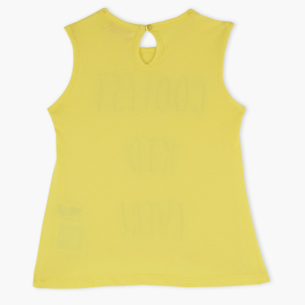 Juniors Printed Sleeveless Round Neck Top