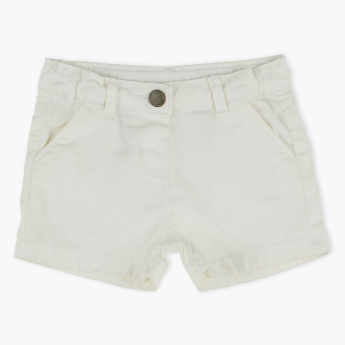 Juniors Denim Shorts with Button Closure