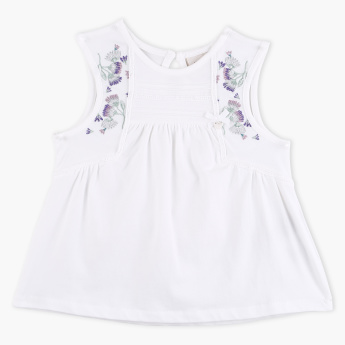 Eligo Round Neck Sleeveless Embroidered Top