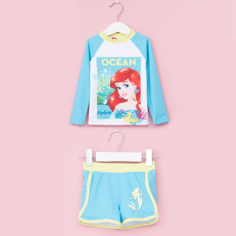 Ariel Rash Guard Printed Round Neck T-Shirt with Shorts