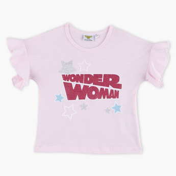 Wonder Woman Printed Round Neck Top