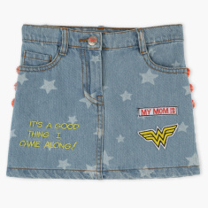Wonder Woman Embroidered Skirt with Pom-Pom Detail
