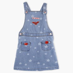 Wonder Women Printed Dungaree Dress